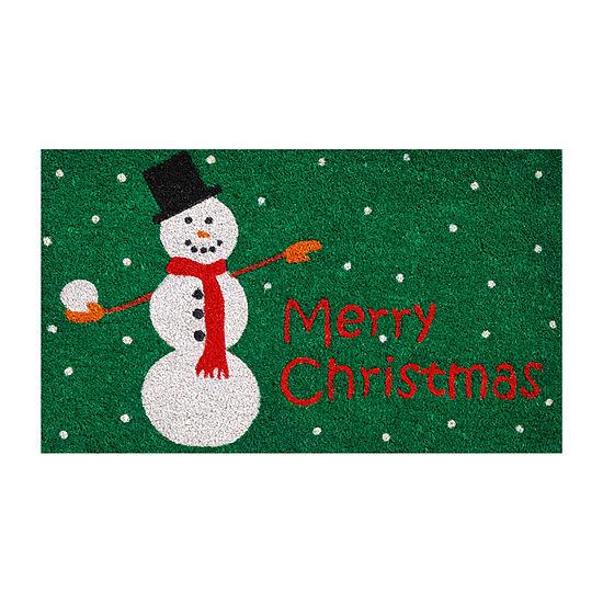 Christmas Snowman Rectangular Outdoor Doormat