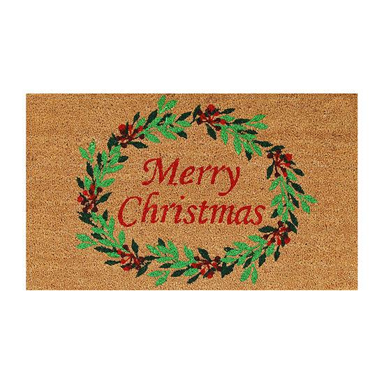 Christmas Wreath Rectangular Outdoor Doormat