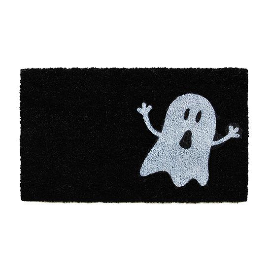 Black/White Ghost Rectangular Outdoor Doormat