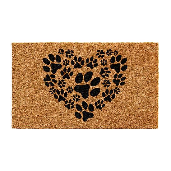 Heart Paws Rectangular Outdoor Doormat