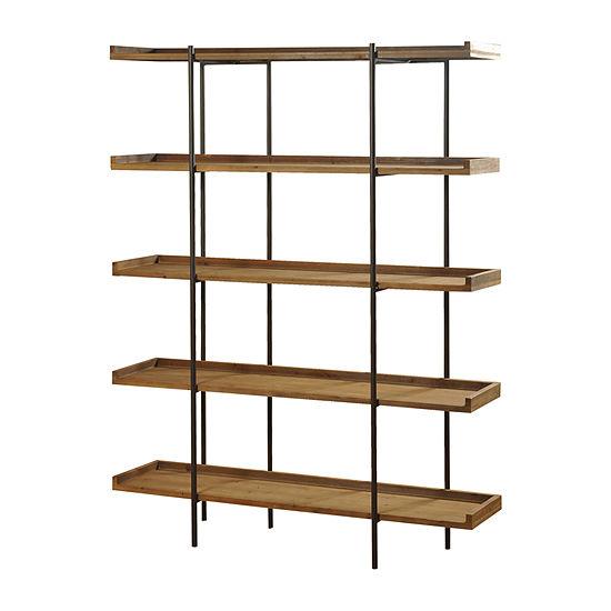 Stylecraft Bryan Keith Wood and Metal 5 Tier Bookshelves