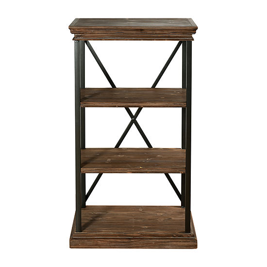 Stylecraft Driftwood Grey Metal and Wood 4 Tier Bookshelves