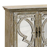 Naples Weathered Taupe and Mirrored Accent Cabinet