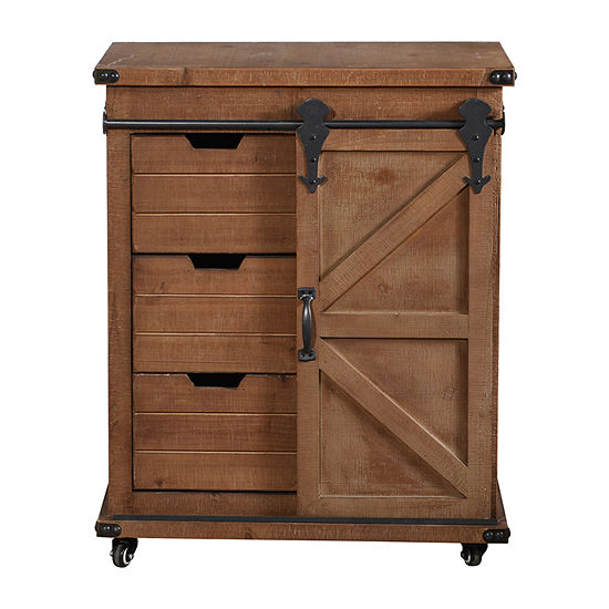 Stylecraft Presley Wooden 3 Drawer and Door Accent Cabinet