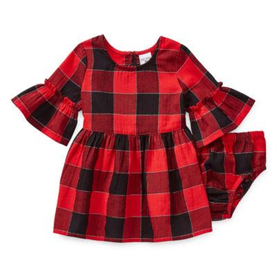 Okie Dokie Girls Short Sleeve Drop Waist Dress - Baby