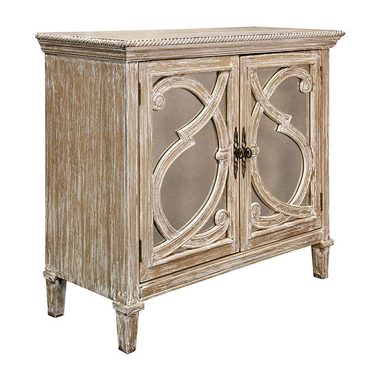 Stylecraft Naples Taupe Wood and Mirror Accent Cabinet