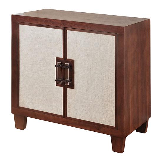 Stylecraft Natural Walnut Wood with Beige Linen Accent Cabinet