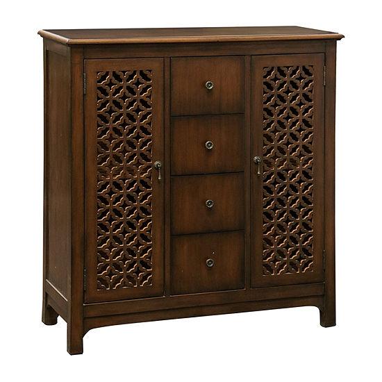 Stylecraft Lattice Fretwork Cherry Wood Accent Cabinet