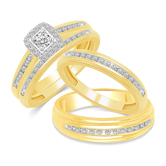 10K Gold Sqaure His and Hers Ring Sets