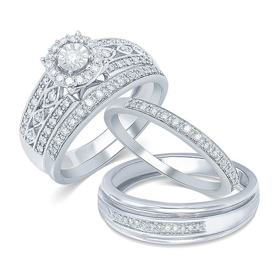 10K White Gold His and Hers Ring Sets