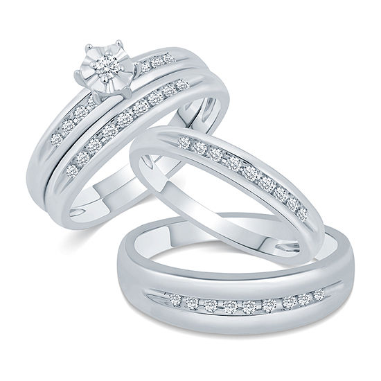 10k White Gold His And Hers Ring Sets Jcpenney