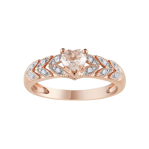 Pink Morganite Heart & Diamond Accent Ring