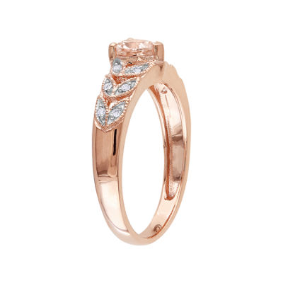 Pink Morganite Heart & Diamond Accent Ring