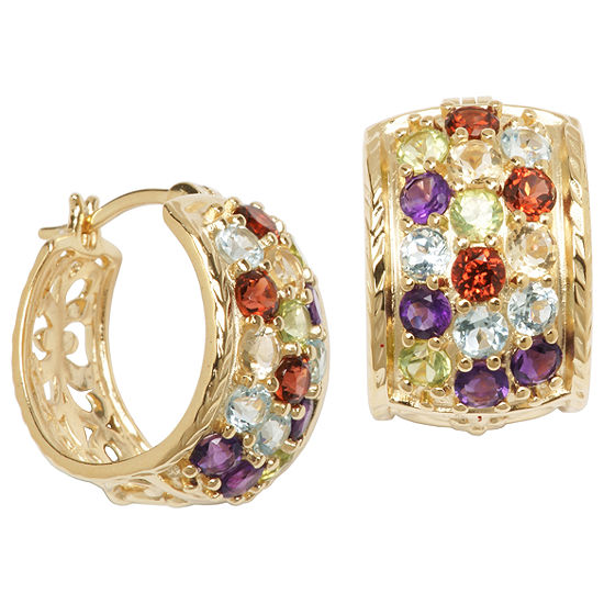 18K Gold-Plated Silver Multi Stone Hoop Earrings