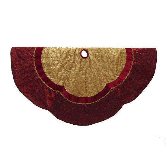 """Kurt Adler 72"""" Red and Gold Criss-Cross Scallop Tree Skirt"""