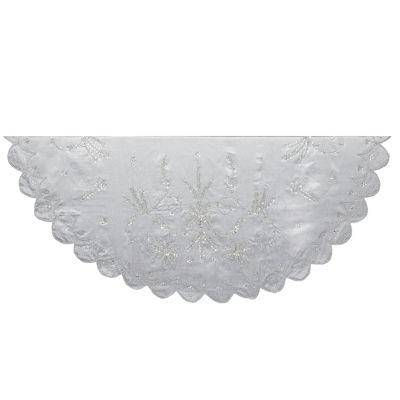 "Kurt Adler 48"" Silver Hand Embroidery Tree Skirt"