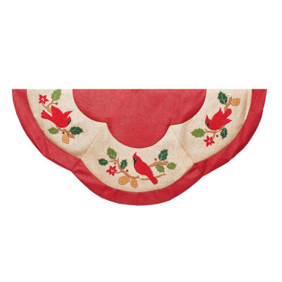 "Kurt Adler 48"" Red With Cardinal Applique Tree Skirt"