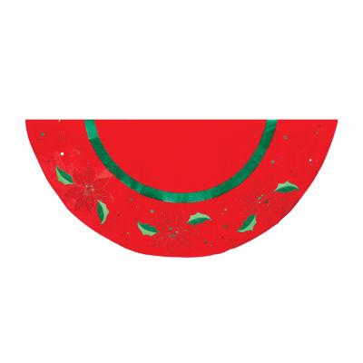 """Kurt Adler 48"""" Red With Holly Applique Velvet Tree Skirt"""