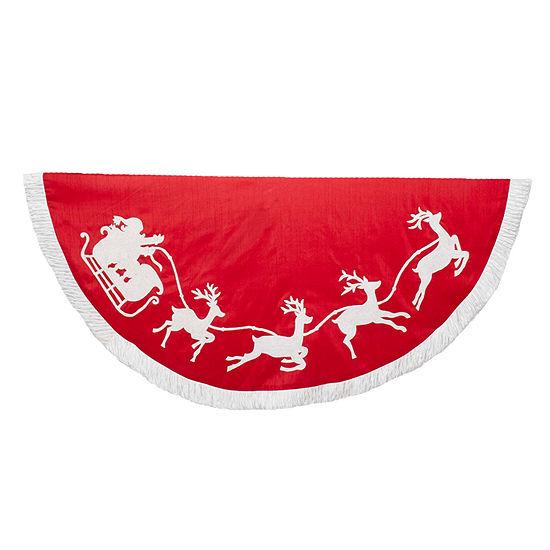 """Kurt Adler 50"""" Red and White Santa Sleigh Embroidered Tree Skirt"""