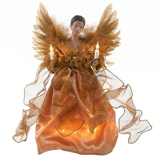 """Kurt Adler 13"""" African American Gold Angel Lighted Treetopper"""