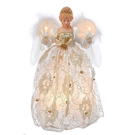 """Kurt Adler 12"""" Ivory and Gold Angel Lighted Treetopper"""