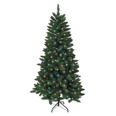 Kurt Adler 6 ft. Pre-Lit Green Pine Christmas Tree With Multi-Colored Lights