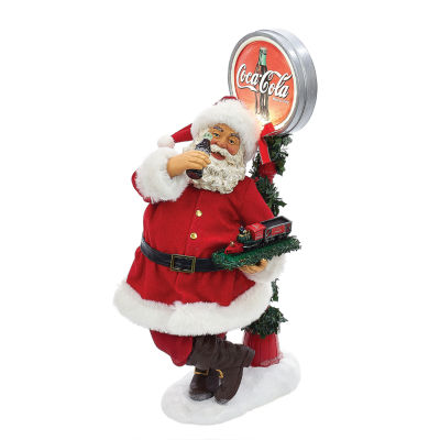 """Kurt Adler Coca-Cola® 14"""" Battery-Operated Santa With LED Light-Up Coke Sign Table Piece"""