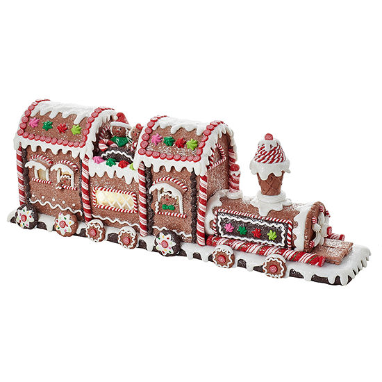 "Kurt Adler 19.5"" Battery-Operated LED Lighted Gingerbread Train"