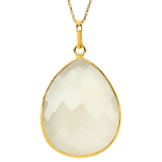 Womens Simulated White Quartz Gold Over Silver Pendant Necklace