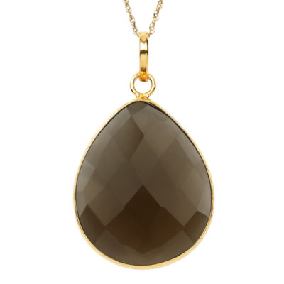 Womens Simulated Brown Quartz Gold Over Silver Pendant Necklace