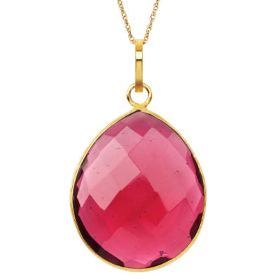 Womens Simulated Red Quartz Gold Over Silver Pendant Necklace