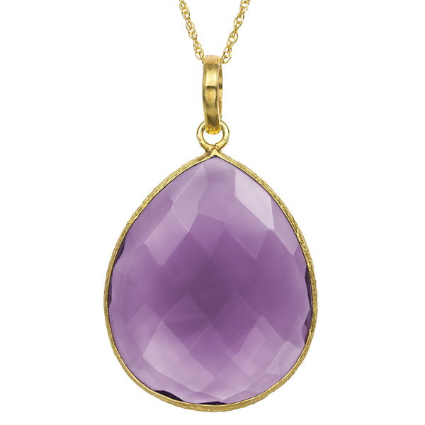 Womens Simulated Purple Quartz Gold Over Silver Pendant Necklace