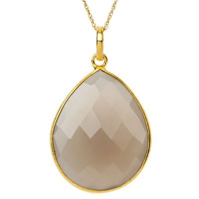 Womens Simulated Gray Quartz Gold Over Silver Pendant Necklace