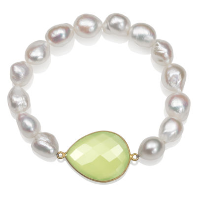 Womens White Pearl Gold Over Silver Beaded Bracelet