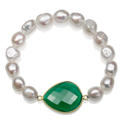 Womens White 14K Gold Over Silver Beaded Bracelet