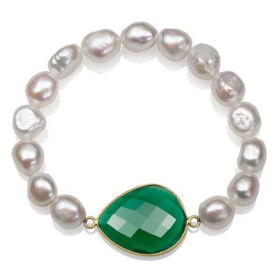 Genuine White Cultured Freshwater Pearl 14K Gold Over Silver Beaded Bracelet