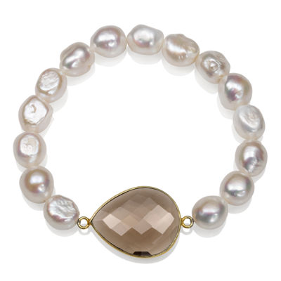 Genuine White Cultured Freshwater Pearl 14K Gold Over Silver Beaded Bracelet