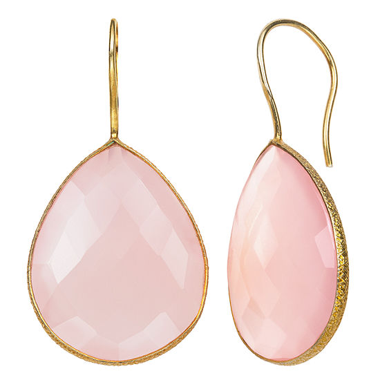 Simulated Pink Quartz 14K Gold Over Silver Drop Earrings