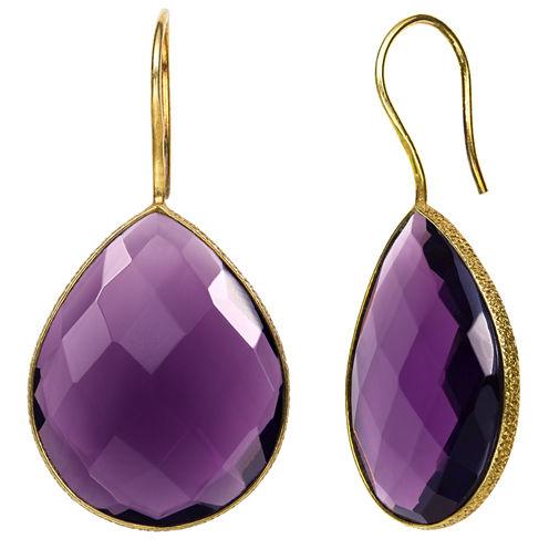 Purple Quartz 14K Gold Over Silver Drop Earrings