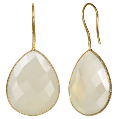Simulated White Quartz 14K Gold Over Silver Drop Earrings