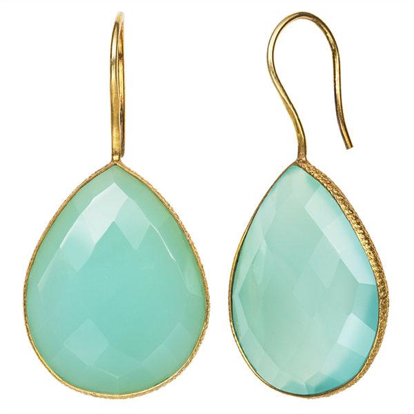 Fine Jewelry Simulated Green Quartz 14K Gold Over Silver Drop Earrings Lle2ektYsF