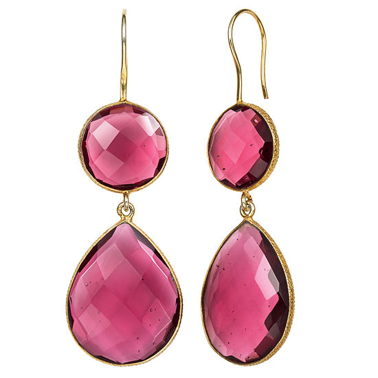 Simulated Red Quartz 14K Gold Over Silver Drop Earrings