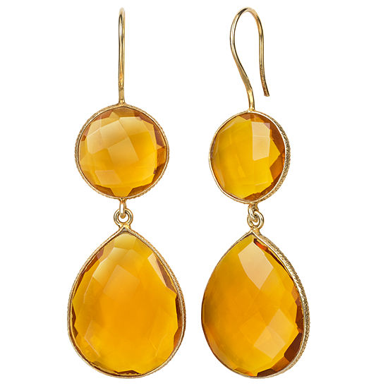 Simulated Orange Quartz 14K Gold Over Silver Drop Earrings