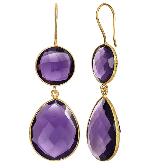 Simulated Purple Quartz 14K Gold Over Silver Drop Earrings