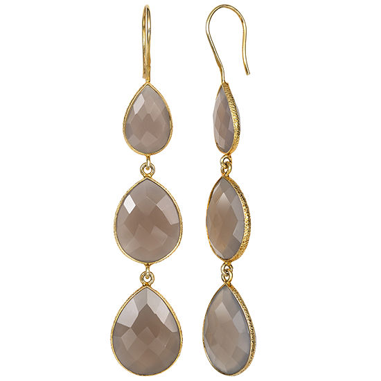 Simulated Gray Quartz 14K Gold Over Silver Drop Earrings