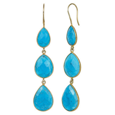 Simulated Blue Quartz 14K Gold Over Silver Drop Earrings