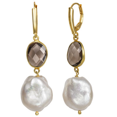 Simulated Brown Quartz 14K Gold Over Silver Drop Earrings