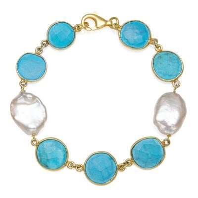 Womens 7.5 Inch Simulated Blue Quartz 14K Gold Over Silver Link Bracelet