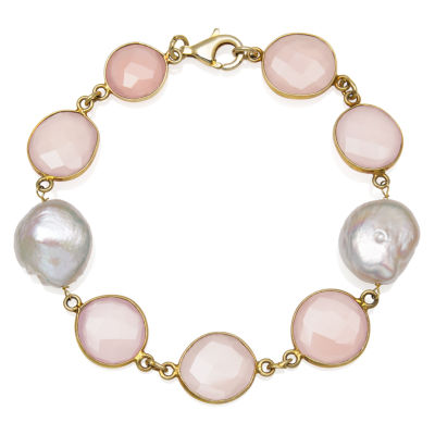 Womens 7.5 Inch Simulated Pink Quartz 14K Gold Over Silver Link Bracelet