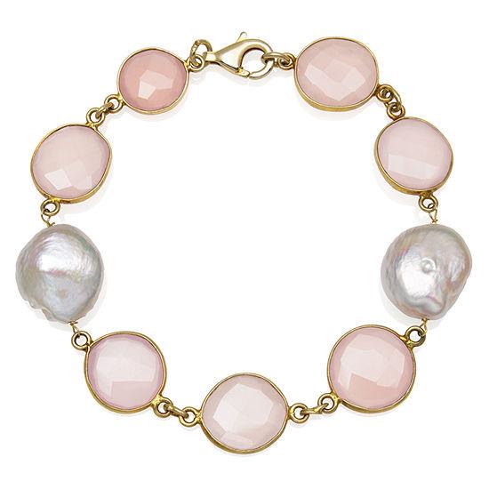 Womens 7.5 Inch Simulated Pink Quartz 14K Gold Over Silver Link Bracelet